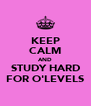 KEEP CALM AND STUDY HARD FOR O'LEVELS - Personalised Poster A4 size