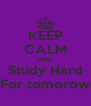 KEEP CALM AND Study Hard For tomorow - Personalised Poster A4 size