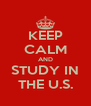 KEEP CALM AND STUDY IN THE U.S. - Personalised Poster A4 size