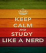 KEEP CALM AND STUDY  LIKE A NERD - Personalised Poster A4 size