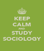 KEEP CALM AND STUDY SOCIOLOGY - Personalised Poster A4 size