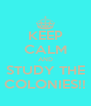 KEEP CALM AND STUDY THE COLONIES!! - Personalised Poster A4 size
