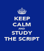 KEEP CALM AND STUDY THE SCRIPT - Personalised Poster A4 size