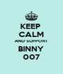 KEEP  CALM AND SUPPORT    BINNY 007 - Personalised Poster A4 size