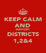 KEEP CALM AND SUPPORT DISTRICTS 1,2&4 - Personalised Poster A4 size