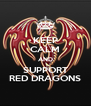 KEEP CALM AND SUPPORT RED DRAGONS - Personalised Poster A4 size