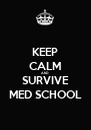 KEEP CALM AND SURVIVE MED SCHOOL - Personalised Poster A4 size