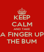 KEEP CALM AND TAKE A FINGER UP THE BUM - Personalised Poster A4 size