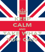 KEEP CALM AND TAKE WHAT YOU CAN - Personalised Poster A4 size