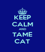 KEEP CALM AND TAME CAT - Personalised Poster A4 size