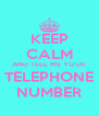 KEEP CALM AND TELL ME YOUR TELEPHONE NUMBER - Personalised Poster A4 size