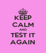 KEEP CALM AND TEST IT AGAIN - Personalised Poster A4 size