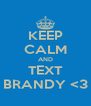 KEEP CALM AND TEXT BRANDY <3 - Personalised Poster A4 size