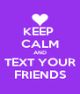 KEEP  CALM AND TEXT YOUR FRIENDS - Personalised Poster A4 size