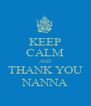 KEEP CALM AND THANK YOU NANNA - Personalised Poster A4 size