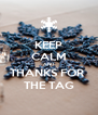KEEP CALM AND THANKS FOR  THE TAG - Personalised Poster A4 size