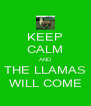 KEEP CALM AND THE LLAMAS WILL COME - Personalised Poster A4 size