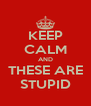 KEEP CALM AND THESE ARE STUPID - Personalised Poster A4 size