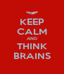 KEEP CALM AND THINK BRAINS - Personalised Poster A4 size
