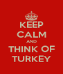 KEEP CALM AND THINK OF TURKEY - Personalised Poster A4 size