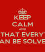 KEEP CALM AND THINK THAT EVERYTHING  CAN BE SOLVED - Personalised Poster A4 size