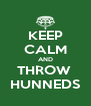 KEEP CALM AND THROW  HUNNEDS - Personalised Poster A4 size