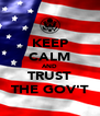 KEEP CALM AND TRUST THE GOV'T - Personalised Poster A4 size
