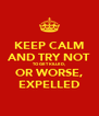KEEP CALM AND TRY NOT TO GET KILLED, OR WORSE, EXPELLED - Personalised Poster A4 size