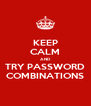 KEEP CALM AND TRY PASSWORD COMBINATIONS - Personalised Poster A4 size