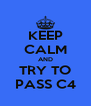 KEEP CALM AND TRY TO PASS C4 - Personalised Poster A4 size