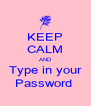KEEP CALM AND Type in your Password  - Personalised Poster A4 size
