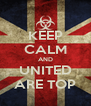 KEEP CALM AND UNITED ARE TOP - Personalised Poster A4 size