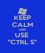 """KEEP CALM AND USE  """"CTRL S"""" - Personalised Poster A4 size"""