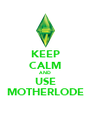 KEEP CALM AND USE MOTHERLODE - Personalised Poster A4 size