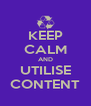 KEEP CALM AND UTILISE CONTENT - Personalised Poster A4 size