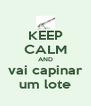 KEEP CALM AND vai capinar um lote - Personalised Poster A4 size