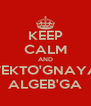 KEEP CALM AND VEKTO'GNAYA ALGEB'GA - Personalised Poster A4 size