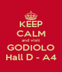 KEEP CALM and visit GODIOLO Hall D - A4 - Personalised Poster A4 size