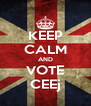 KEEP CALM AND VOTE CEEj - Personalised Poster A4 size