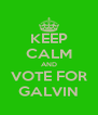 KEEP CALM AND VOTE FOR GALVIN - Personalised Poster A4 size