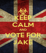 KEEP CALM AND VOTE FOR JAKE - Personalised Poster A4 size