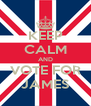 KEEP CALM AND VOTE FOR JAMES - Personalised Poster A4 size