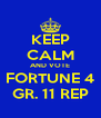 KEEP CALM AND VOTE FORTUNE 4 GR. 11 REP - Personalised Poster A4 size