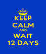 KEEP CALM AND WAIT 12 DAYS - Personalised Poster A4 size