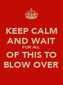 KEEP CALM AND WAIT FOR ALL OF THIS TO BLOW OVER - Personalised Poster A4 size