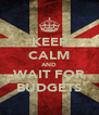 KEEP CALM AND WAIT FOR BUDGETS - Personalised Poster A4 size