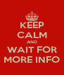 KEEP CALM AND WAIT FOR MORE INFO - Personalised Poster A4 size