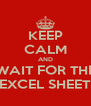 KEEP CALM AND WAIT FOR THE EXCEL SHEET - Personalised Poster A4 size