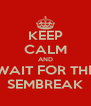 KEEP CALM AND WAIT FOR THE SEMBREAK - Personalised Poster A4 size
