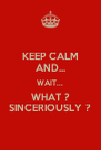 KEEP CALM AND... WAIT... WHAT ? SINCERIOUSLY ? - Personalised Poster A4 size
